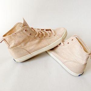 Keds Rose Gold Brushed Metallic High Top Sneakers